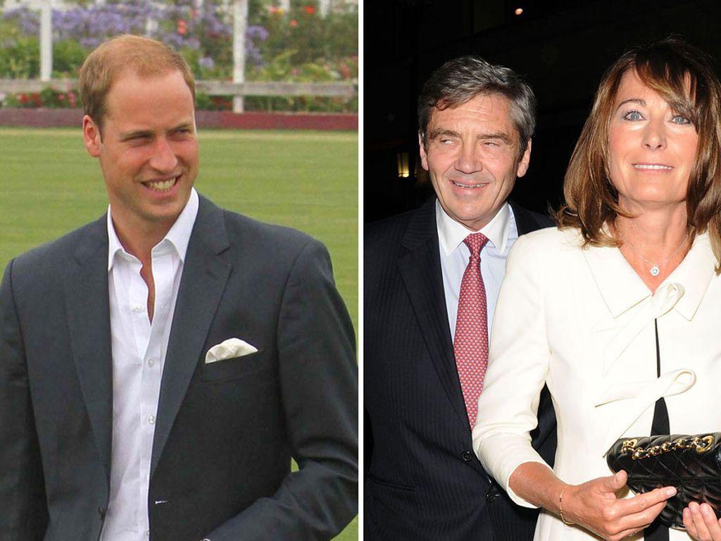 Prinz William und seine Schwiegereltern, George und Carole Middleton