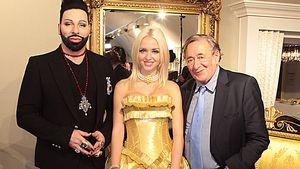 Cathy Lugner im goldenen Kleid mit Harald Glööckler und Richard Lugner
