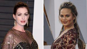Collage: Chrissy Teigen und Anne Hathaway bei den Oscars