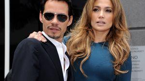 Marc Anthony und Jennifer Lopez blicken angestrengt in die Ecke