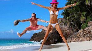 Ronan Keating und seine Frau Storm in den Flitterochen am Strand