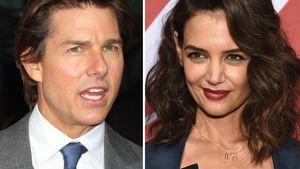 Tom Cruise ist sauer und Katie Holmes grinst in einer Collage