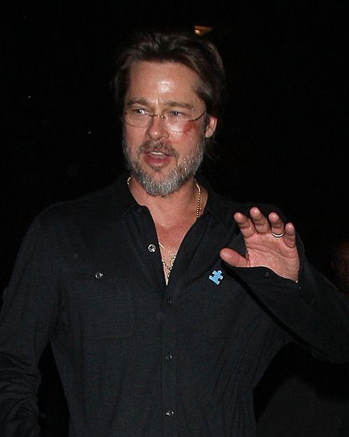 Brad Pitt führte am Wochenende sein lädiertes Gesicht vor