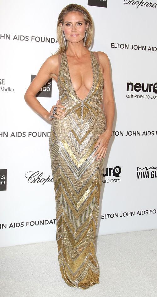 Heidi Klum erschien bei der Oscar-Party mit einem prallen Dekolleté