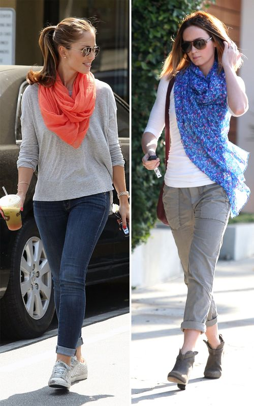 Minka Kelly und Emily Blunt peppen ihre Looks mit bunten Tüchern auf