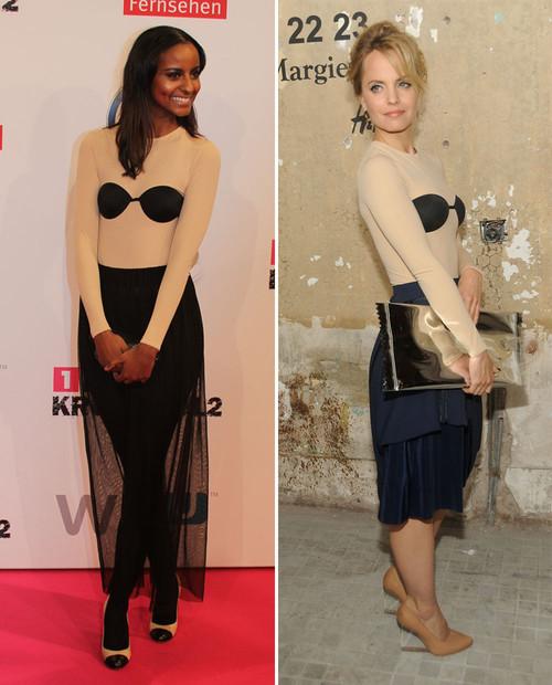Sara Nuru und Mena Suvari stehen auf den Margiela-Body von H&M