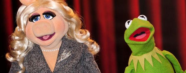 Miss Piggy und Kermit der Frosch reißen den Mund auf
