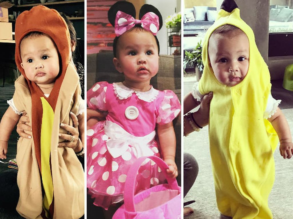 Baby Luna Simone in drei verschiedenen Halloween-Kostümen
