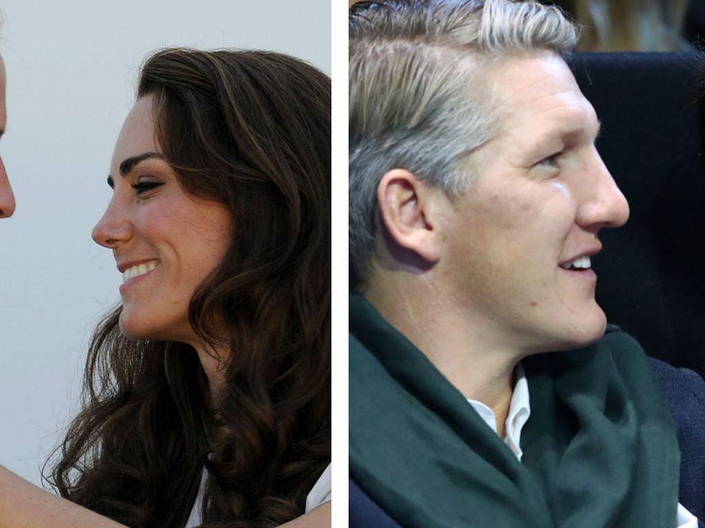 Prinz William und seine Frau Kate neben Bastian Schweinsteiger und seiner Frau Ana