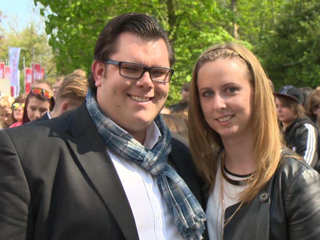 Dennis Schick und Nadine beim Bild-Renntag 2016