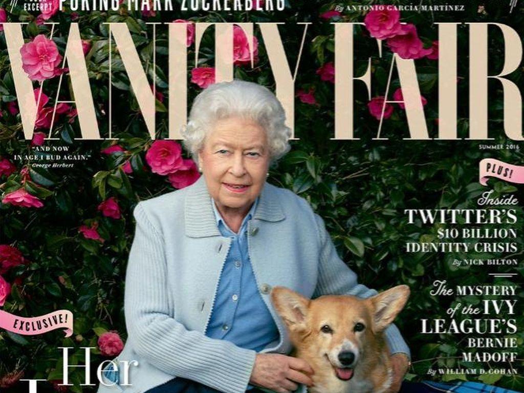 Queen Elizabeth II. mit ihren Hunden auf der Vanity Fair