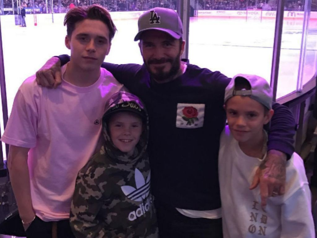 Brooklyn, Cruz, David und Romeo Beckham beim Eishockey in Los Angeles