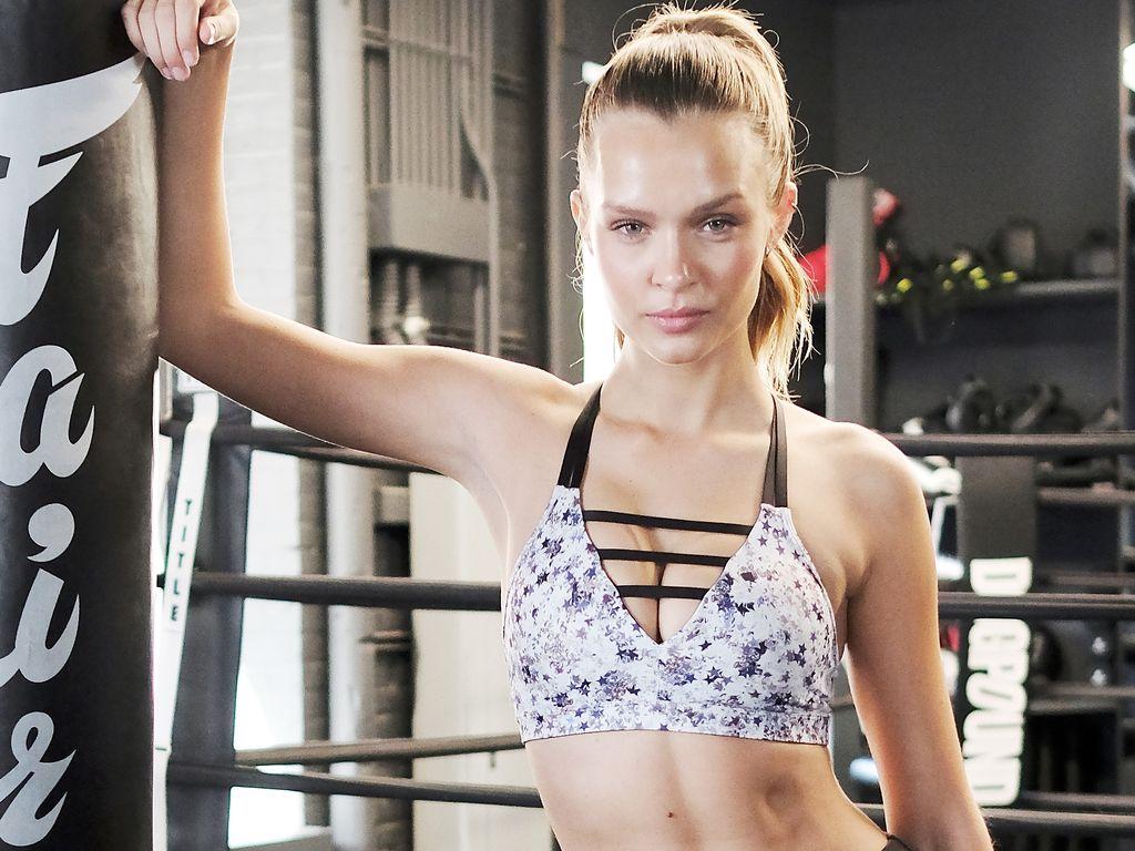 """Josphine Skriver beim """"Train Like an Angel""""-Werbeshooting für """"Victoria's Secret"""""""