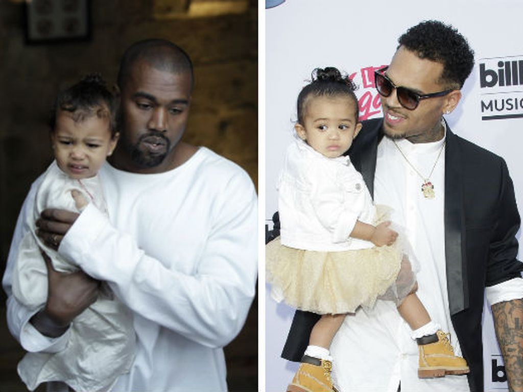 Kanye West, North West und Chris Brown