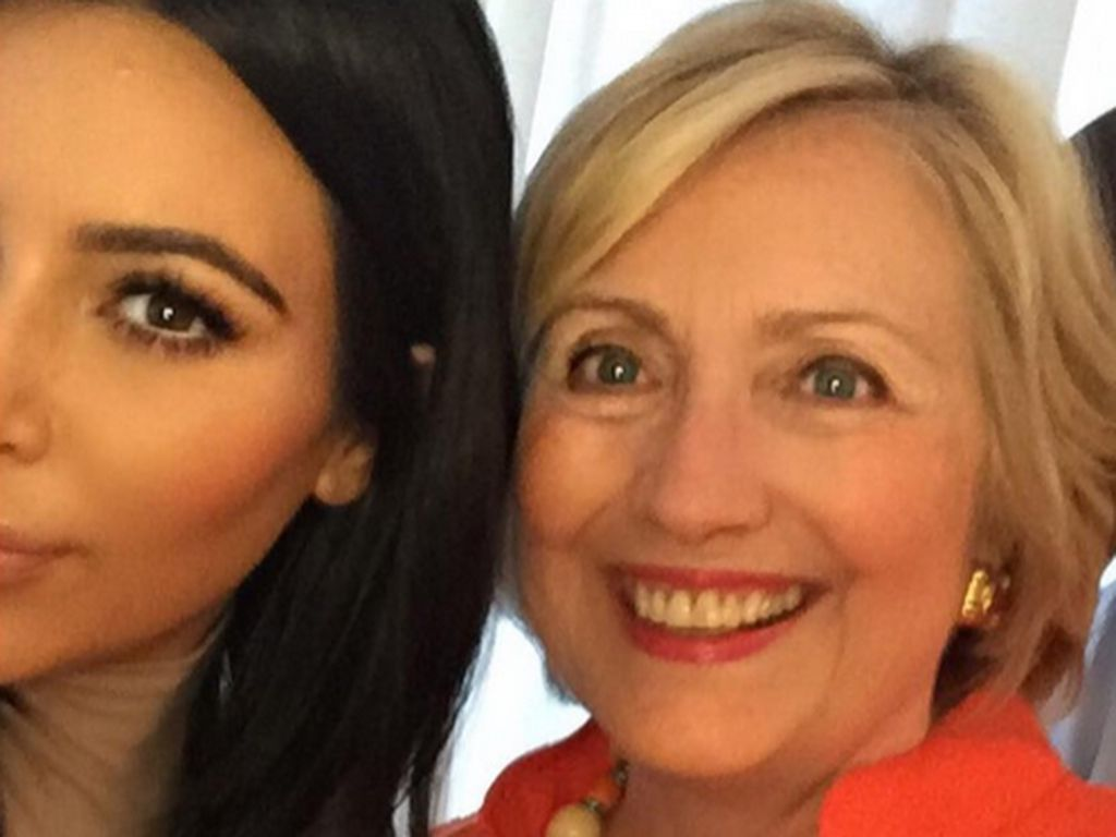 Kim Kardashian, Kanye West und Hillary Clinton