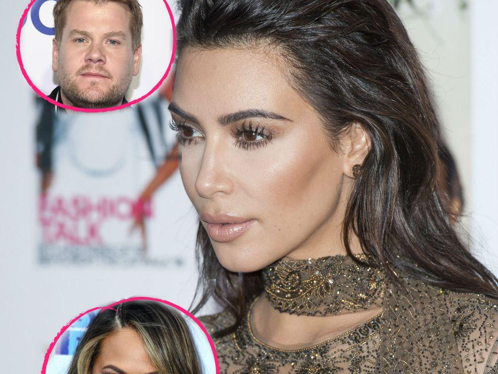 Kim Kardashian mit James Corden und Chrissy Teigen