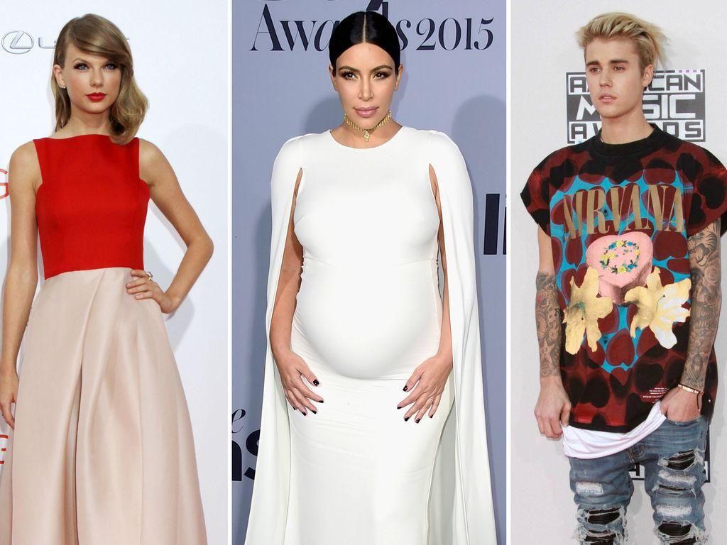 Taylor Swift, Justin Bieber und Kim Kardashian