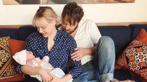Alison Pill und Joshua Leonard mit Baby Wilder Grace Leonard
