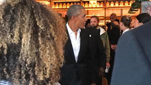 Barack Obama im Upland Restaurant in NYC