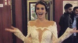 Betty Taube im Brautkleid bei Mc Donald's