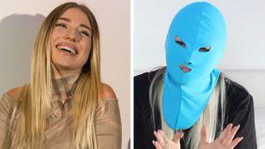 Bibi Heinicke mit blauer Maske