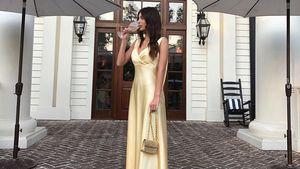 Wie Kylie: DiCaprio-Freundin Camila in Gold bei Bieber-Feier