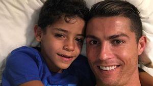 Fußballer Cristiano Ronaldo mit Sohn Cristiano Ronaldo Jr.