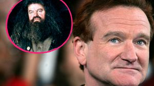 "Robbie Coltrane als ""Hagrid"" und Robin Williams"
