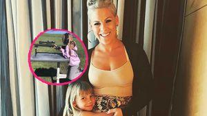 Pinks Tochter Willow (7) schießt mit Papa Carey Harts Gewehr