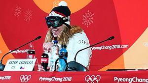 """""""Bin ungeschminkt"""": Olympia-Siegerin mit Skibrille bei PK"""