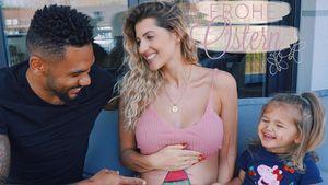 Zu Ostern: Dominic und Mia bemalen Sarah Harrisons Babybauch