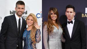 Gerard Piqué mit Shakira und Antonella Roccuzzo mit Lionel Messi