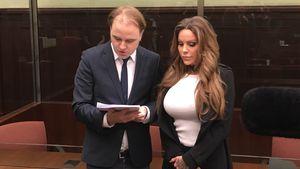 Gina-Lisa Lohfink und ihr Anwalt Burkhard Benecken im Kammergericht Berlin