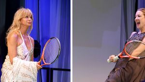 Goldie Hawn & Kate Hudson: Tennis im Abendkleid