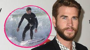 Surfausflug mit Bruder: Hier geht Liam Hemsworth baden