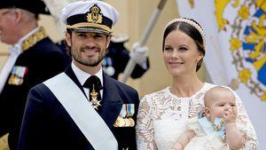 Wie bei ihrer Hochzeit: Sofia als Braut bei Schweden-Taufe