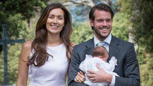 Prinz Félix von Luxemburg mit seiner Frau Claire und seiner Tochter Amalia 2014 in Frankreich