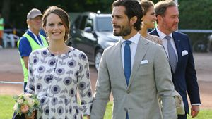 Prinzessin Sofia und Prinz Carl Philip  im Borgholm Stadion auf der Insel Öland