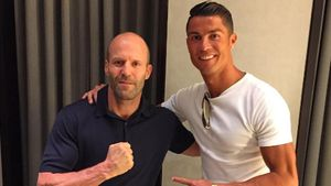 Schauspieler Jason Statham und Fußballer Cristiano Ronaldo