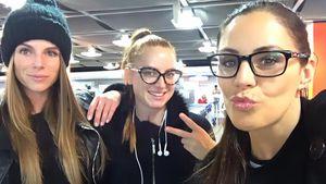 Tina Schützler, Alesa Music und Silvana Joppich am Düsseldorfer Flughafen