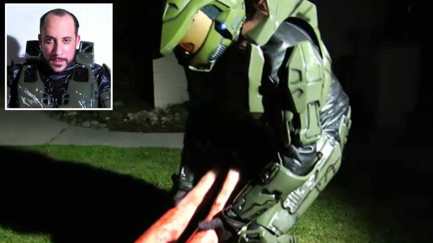 AJ McLean als Mörder im Halo-Kostüm