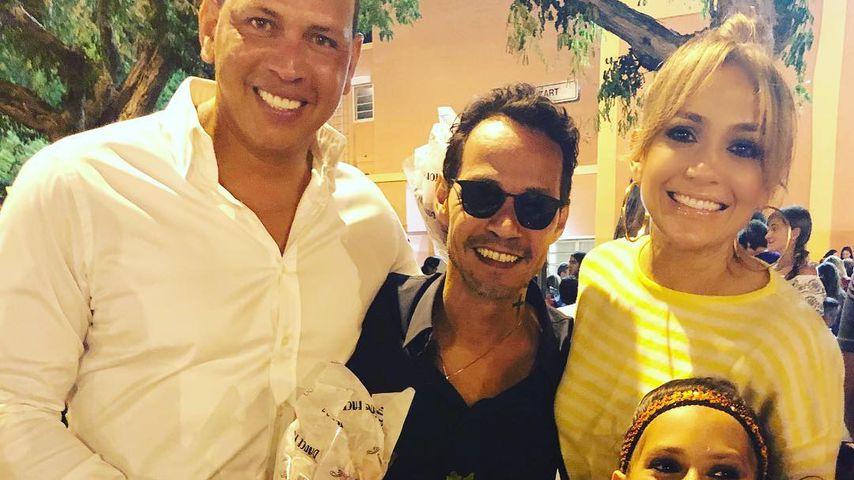 Alex Rodriguez, Marc Anthony, Jennifer Lopez und Emme, 2018
