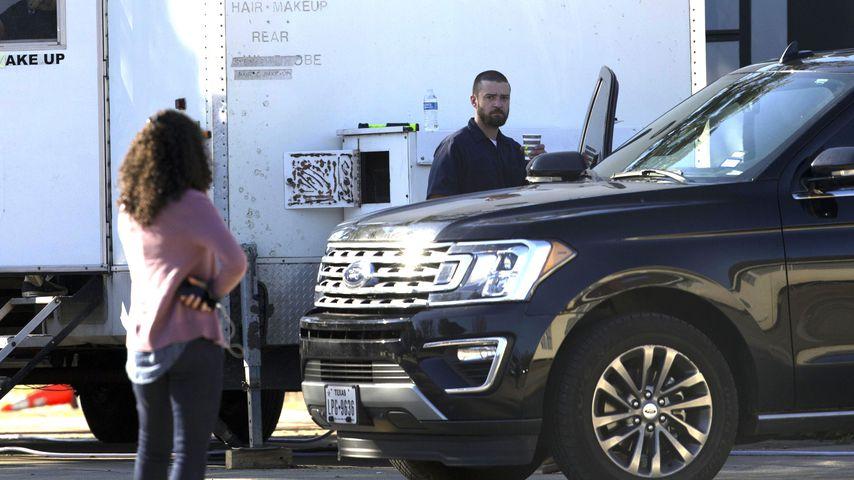 Alisha Wainwright und Justin Timberlake am Drehset