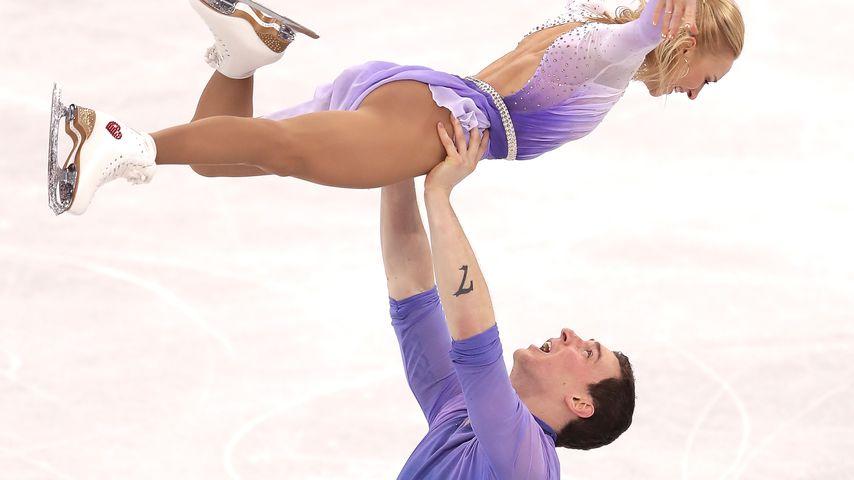Aljona Savchenko und Bruno Massot bei ihrem Rekordlauf, Olympia 2018