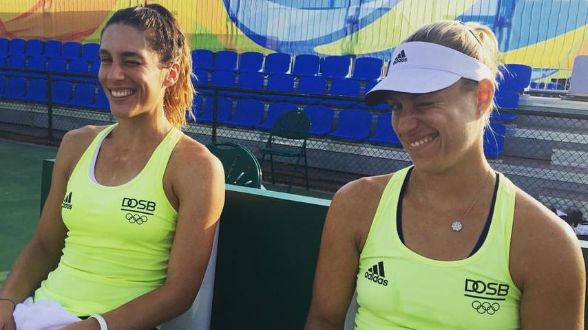 Tennisprofis Andrea Petkovic (l.) und Angelique Kerber (r.) beim Training in  São Paulo