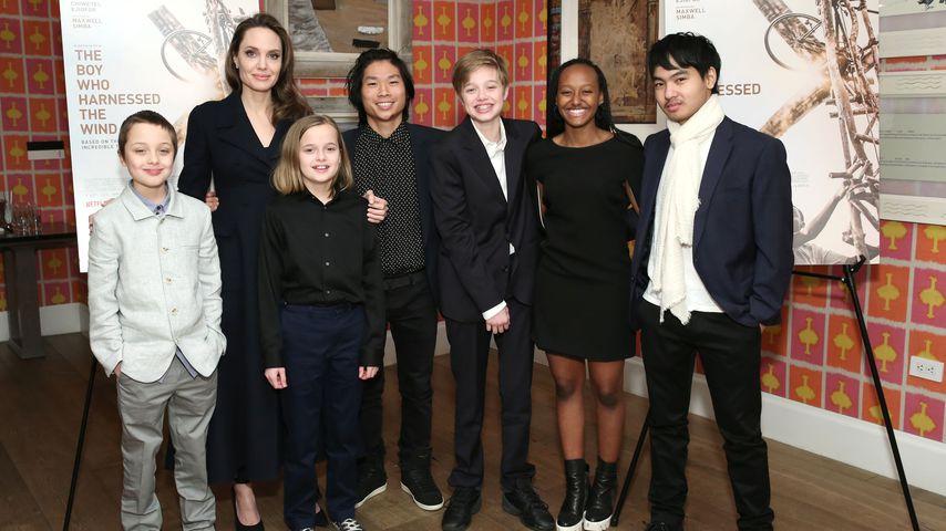 Angelina Jolie zusammen mit Knox, Vivienne, Pax, Shiloh, Zahara und Maddox, Februar 2019