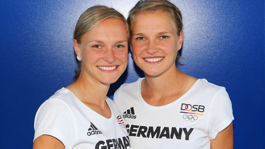 Anna und Lisa Hahner bei der  Einkleidung der Deutschen Olympiamannschaft in Hannover