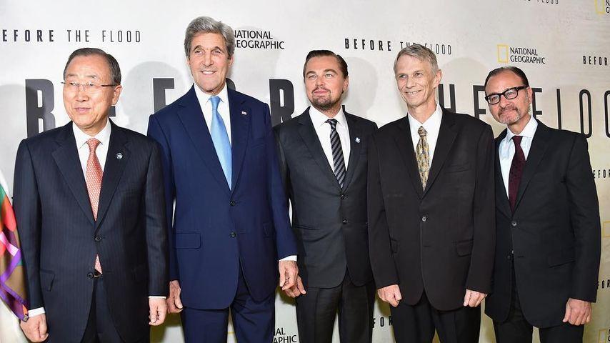 Ban Ki-Moon, John Kerry, Leonardo DiCaprio, Piers Sellers und Fisher Stevens