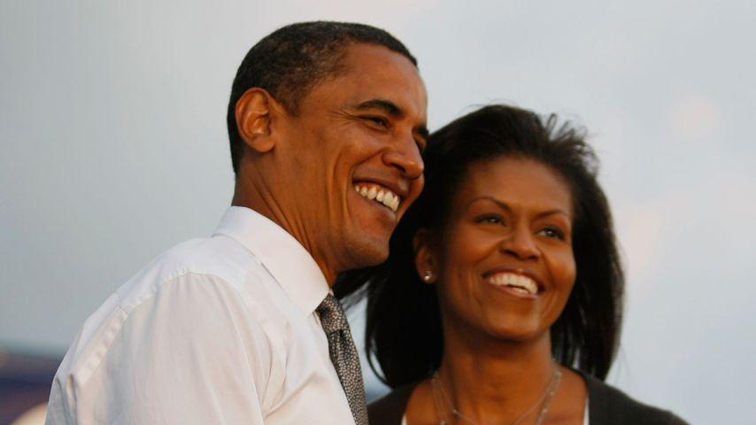 Barack und Michelle Obama während Baracks Wahlkampf in Miami, 2008