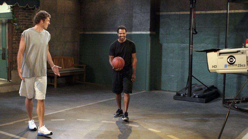 Basketballer Luke Walton und Soap-Star Kristoff St. John bei einer TV-Aufzeichnung